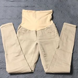 Khaki Motherhood maternity skinny chinos S